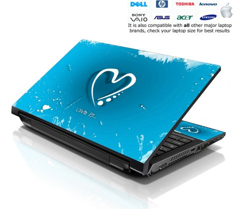 Notebook / Netbook Skin Cover Decal – Blue Heart