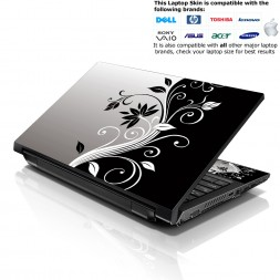 Notebook / Netbook Skin Cover Decal – Black & White Floral