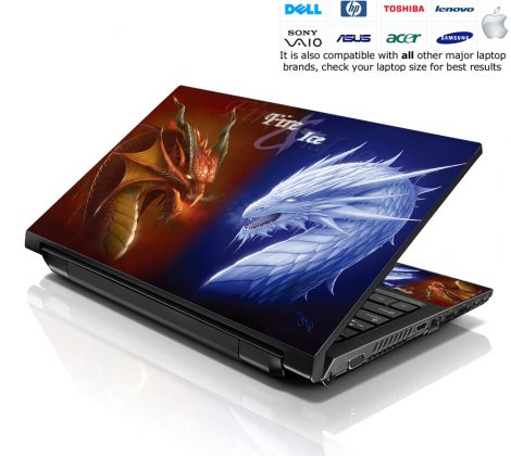 Notebook / Netbook Skin Cover Decal – Fire & Ice Dragons
