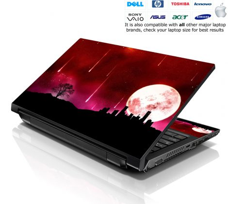Notebook / Netbook Skin Cover Decal – Red Moon Scenery