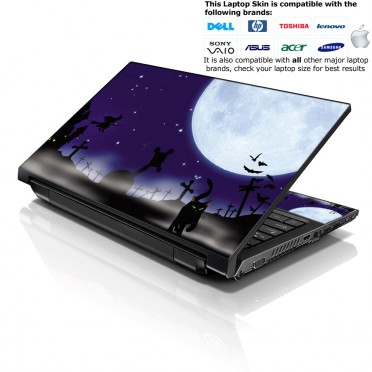 Notebook / Netbook Skin Cover Decal – Night Moon with Black Cat
