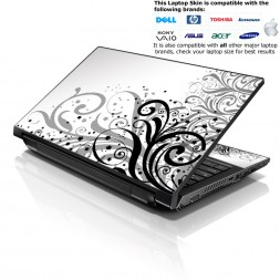 Notebook / Netbook Skin Cover Decal – White and Grey Floral