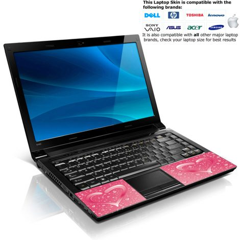 Notebook / Netbook Skin Cover Decal – Pink Heart