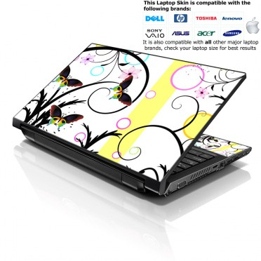 Notebook / Netbook Skin Cover Decal – Butterfly Escape Floral