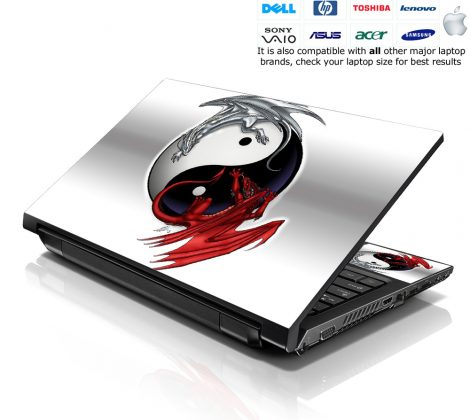 Notebook / Netbook Skin Cover Decal – Ying Yang Dragons