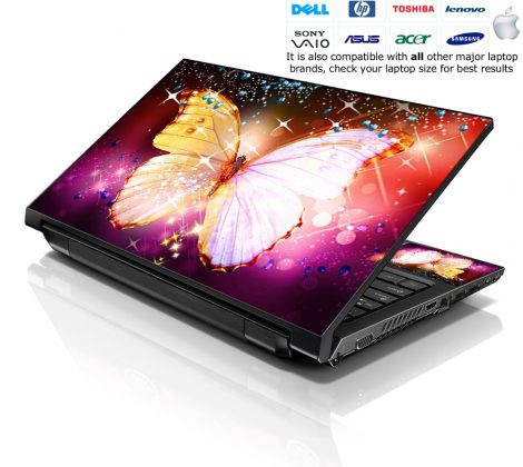 Notebook / Netbook Skin Cover Decal – Sparkling Butterfly