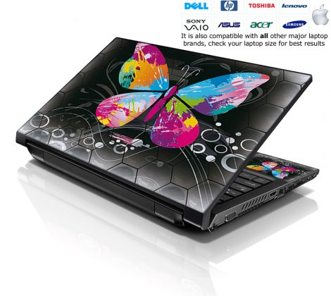 Notebook / Netbook Skin Cover Decal – Multi Colored Butterfly