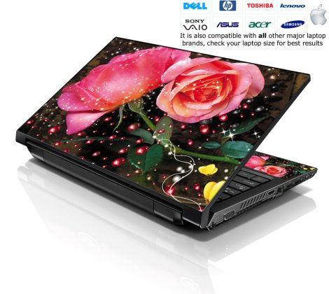 Notebook / Netbook Skin Cover Decal – Sparkling Pink Roses