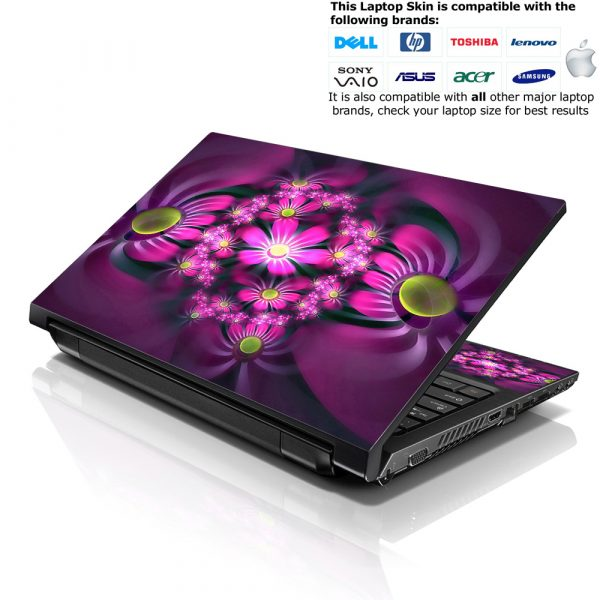 Notebook / Netbook Skin Cover Decal – Purple Floral