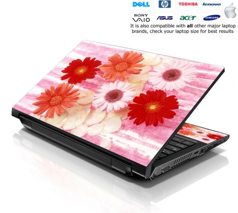 Notebook / Netbook Skin Cover Decal – Red Daisy Floral
