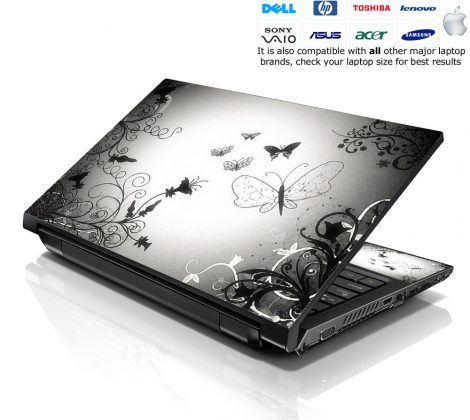 Notebook / Netbook Skin Cover Decal – Butterfly Contrast Fade