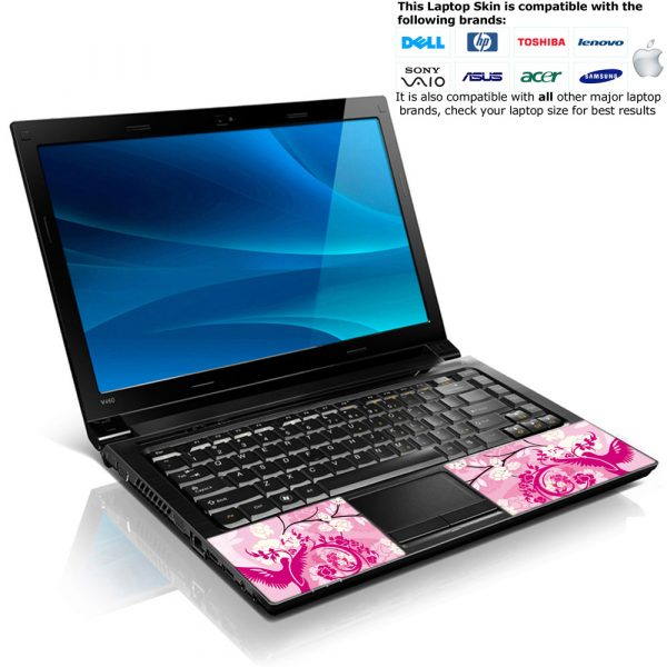 Notebook / Netbook Skin Cover Decal – Pink Birds Floral