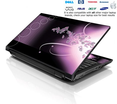 Notebook / Netbook Skin Cover Decal – Faded Purple Floral