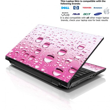 Notebook / Netbook Skin Cover Decal – Pink Water Drops