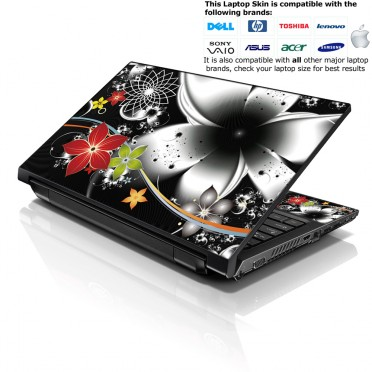 Notebook / Netbook Skin Cover Decal – Black and Grey Floal