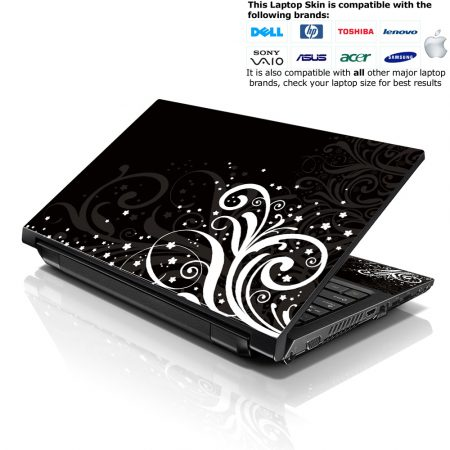 Notebook / Netbook Skin Cover Decal – Black and White Floral