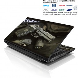 Notebook / Netbook Skin Cover Decal – Police Gun