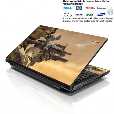 Notebook / Netbook Skin Cover Decal – Shooting Army Rifle