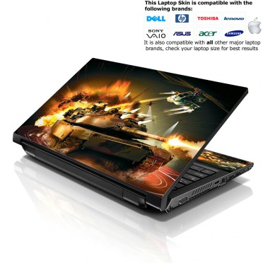 Notebook / Netbook Skin Cover Decal – Tank and Helicopter Explosion