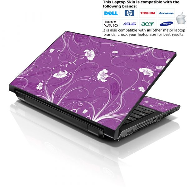 Notebook / Netbook Skin Cover Decal – White on Purple Floral