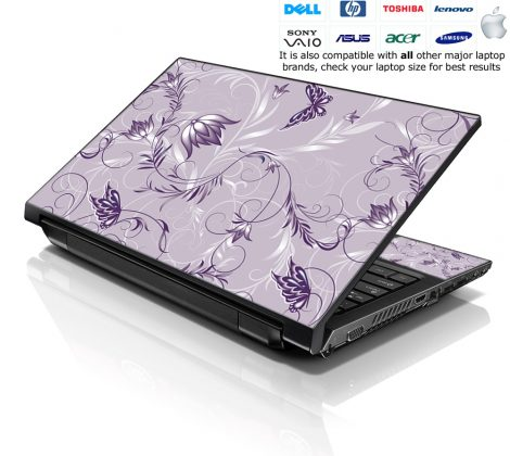 Notebook / Netbook Skin Cover Decal – Lavender Floral