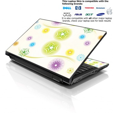 Notebook / Netbook Skin Cover Decal – Colored Snow Flakes