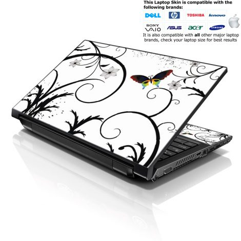 Notebook / Netbook Skin Cover Decal – White Butterfly Escape
