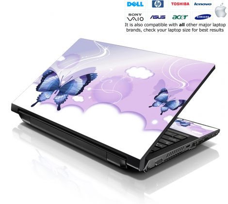 Notebook / Netbook Skin Cover Decal – Cloudy Butterfly