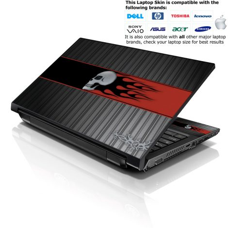 Notebook / Netbook Skin Cover Decal – Skull with Red Flames