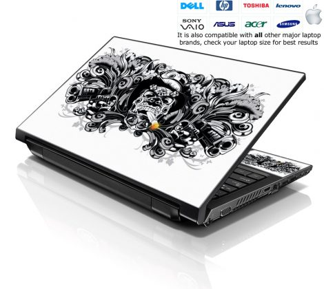 Notebook / Netbook Skin Cover Decal – Smoking Skull