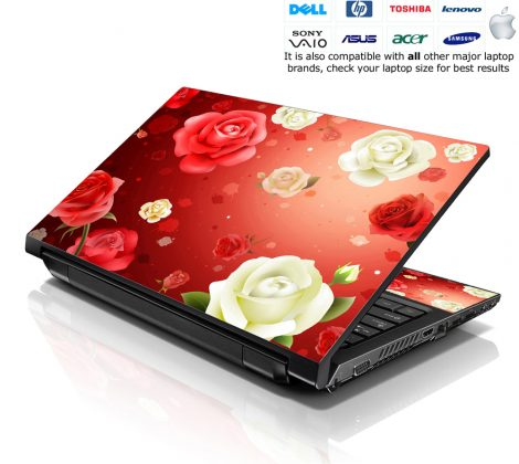 Notebook / Netbook Skin Cover Decal – Red and White Roses