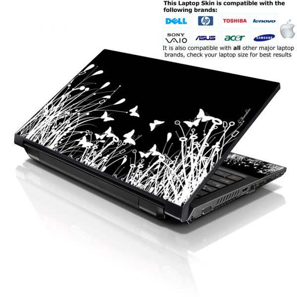Notebook / Netbook Skin Cover Decal – Black & White Flowers Floral