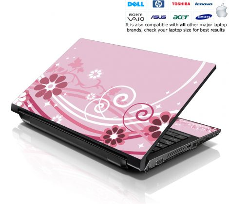 Notebook / Netbook Skin Cover Decal – Pink Floral