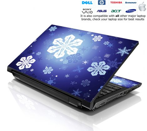 Notebook / Netbook Skin Cover Decal – Snow Flakes