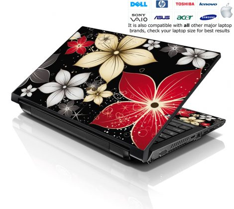 Notebook / Netbook Skin Cover Decal – Black Grey Flower Leaves