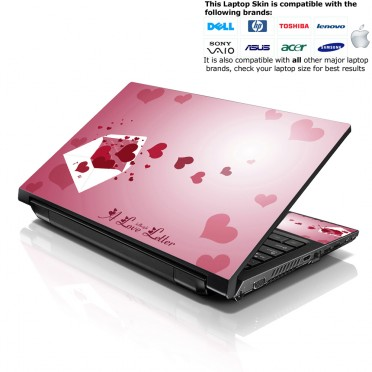 Notebook / Netbook Skin Cover Decal – Pink Hearts Envelope
