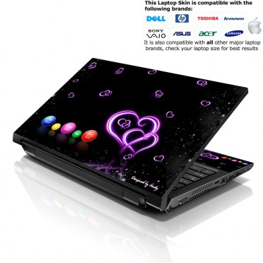 Notebook / Netbook Skin Cover Decal – Hearts