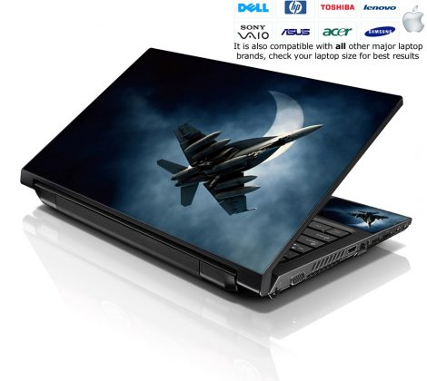 Notebook / Netbook Skin Cover Decal – Midnight Military Plane