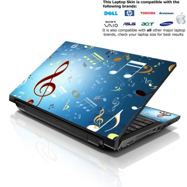 Notebook / Netbook Skin Cover Decal – Music Notes