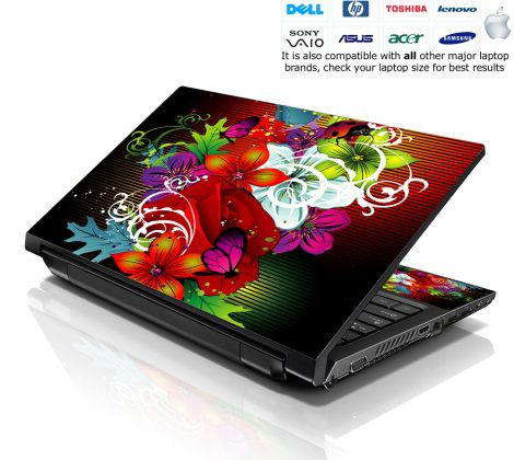 Notebook / Netbook Skin Cover Decal – Colorful Floral