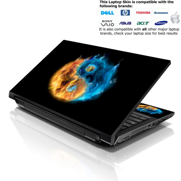 Notebook / Netbook Skin Cover Decal – Ying Yang Fire