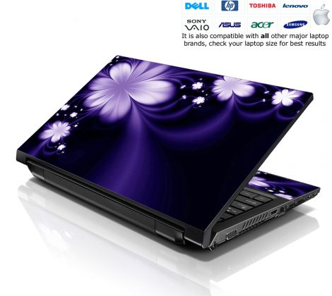 Notebook / Netbook Skin Cover Decal – Purple Flower