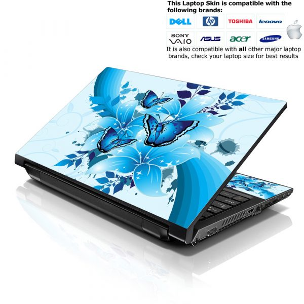 Notebook / Netbook Skin Cover Decal – Sparkling Blue Butterfly
