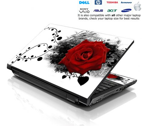 Notebook / Netbook Skin Cover Decal – Red Rose Floral