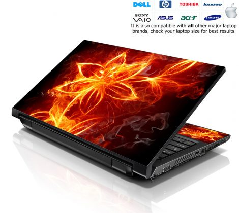 Notebook / Netbook Skin Cover Decal – Flower on Fire