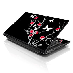Notebook / Netbook Skin Cover Decal – Pink Gray Floral