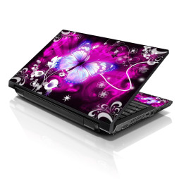 Notebook / Netbook Skin Cover Decal – Purple Butterfly Floral