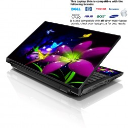 Notebook / Netbook Skin Cover Decal – Purple Blue Floral