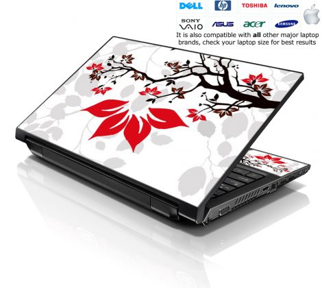 Notebook / Netbook Skin Cover Decal – White Grey Branches Floral