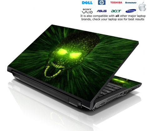 Notebook / Netbook Skin Cover Decal – Green Zombie Skull